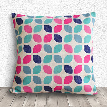 Geometric Pillow Cover, Pillow Cover, Fuschia Pillow Cover, Linen Pillow Cover, 18x18 - Printed Geometric - 014