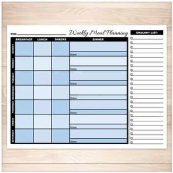 Blue Weekly Meal Planning Page with Grocery List - Printable