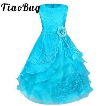 TiaoBug High Quality New Bridesmaid Dress for Wedding Tea Length Princess Girls Pageant Dresses 2017 Kids First Communion Dress