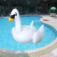 60 inch 1.5M Giant Swan Inflatable Flamingo Ride-On Pool Float Air Mattresses Float Swan Swim Ring Holiday Water Fun Pool Toys S