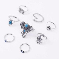 8pc. Elefante Ring Set