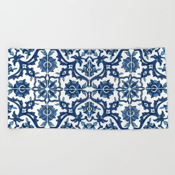 Blue Tile Beach Towel by Negin Khatoun