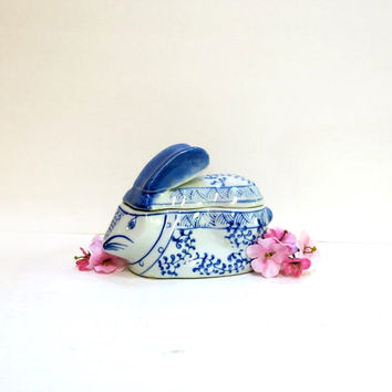 Rabbit Shaped Pottery Box Blue & White 1980s Vintage Home Decor
