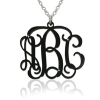 Black Acrylic Monogram Necklace with Sterling Silver Chain