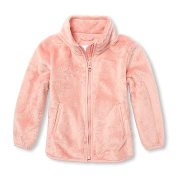 Toddler Girls Mock Neck Faux Fur Jacket