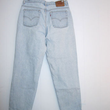 Vintage 90s Light Wash Blue 512 Levi's High Waisted Straight Leg Slim Fit Mom Jean 16 Denim 33""