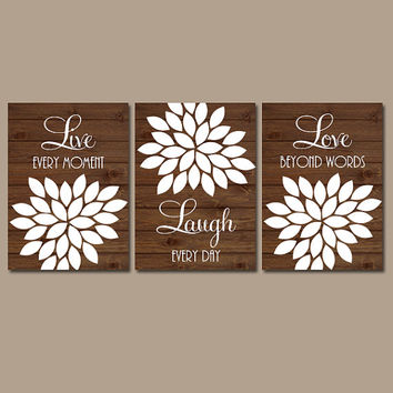 Live Laugh Love Wall Art Artwork Brown Wood Grain Custom Colors Flower Petals Set of 3 Prints  Bedroom Bathroom Three