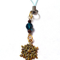 Golden snowflake cell phone charm with two tone emerald green disco ball crystal, zipper pull, purse pull, winter accessories