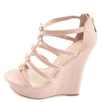 Bamboo Bow-Topped T-Strap Platform Wedges by Charlotte Russe - Rose