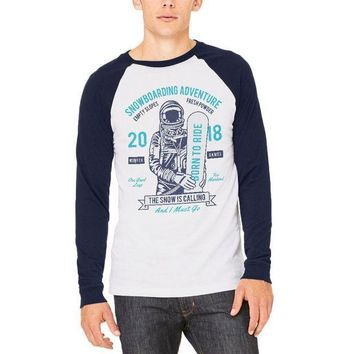 PEAPGQ9 Winter Game Snowboarding Adventure Born to Ride Mens Long Sleeve Raglan T Shirt