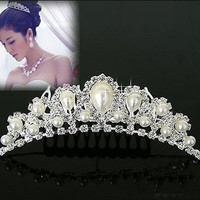 Elegant Imitation Pearl Rhinestone inlay Bridal Crown Tiara Wedding Bride Hair Jewelry Comb