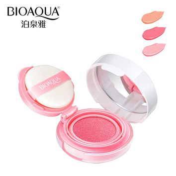 BIOAQUA Brand 3 Colors Cushion Blusher Palette Makeup Mineral Blush Bronzer Powder Sleek Maquiagem Soft Smooth Liquid Make Up