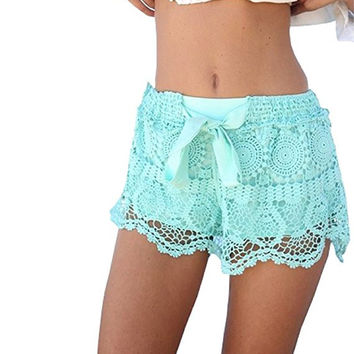 Elastic Openwork Celeb Lace Crochet Bow Shorts Mira Hot Pants