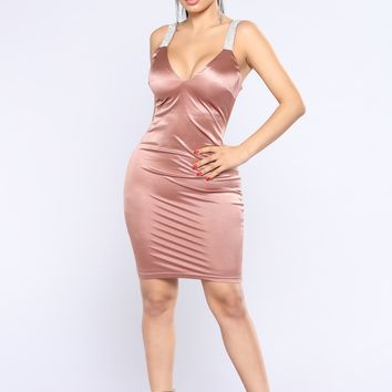 Most Of Tonight Rhinestone Dress - Rose Gold