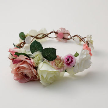 Stunning Circlet Flower Crown, Wreath. Bridal, Wedding, Bride, Bridesmaid, Boho, Floral headpiece. Statement, romantic, vintage, versatile.