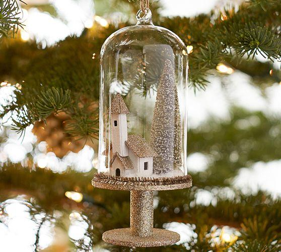 House And Tree Pedestal Cloche Ornament From Pottery Barn