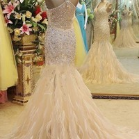 Halter Sleeveless Beaded Crystal Prom Dresses 2016 Long Formal Evening Gowns With Feather Mermaid Champagne Sparkle Prom Party Dress Vestido