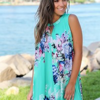Mint Floral Swing Dress with Keyhole