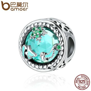 Fashion Genuine 925 Sterling Silver Mystery Ocean Charms Beads fit Women Charm Bracelets DIY Stone Jewelry SCC246