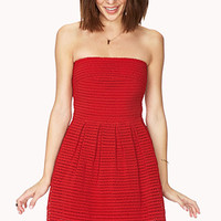 FOREVER 21 Standout Fit & Flare Dress Red