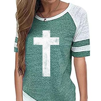 Cross Women's Baseball Jersey Christian Semi-Fitted Short Sleeve Shirt