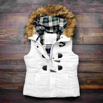 MDIGON1O Day First mountain slopes fur hooded white puffer vest