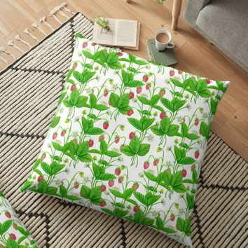 'Strawberry garden' Floor Pillow by Katerina Kirilova