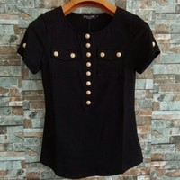 Balmain Women Simple Fashion Buttons Decoration Short Sleeve Bodycon T-shirt Round Neck Tops