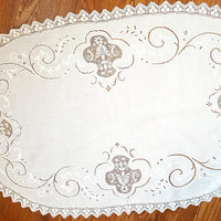 Large Vintage Lace Doily Filet Lace Cutwork 1940s White Free US Shipping