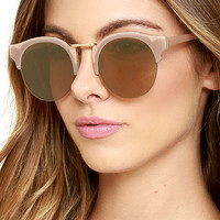 Live Your Life Beige and Gold Mirrored Sunglasses