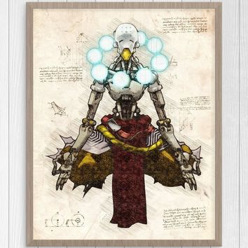 Overwatch Video Game Collection Zenyatta Scroll Canvas Fabric Poster 50 X 70