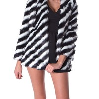 Stockholm Stripe Faux Fur Coat - Black/Ivory