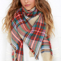 Ticket to Timbuktu Beige Plaid Scarf