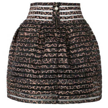 Brown Leopard Print Sheer Stripe High Waisted Bubble Skirt -