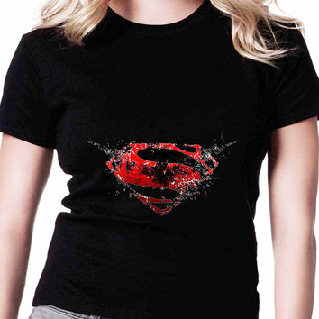 Batman Vs Superman Cute Logo TV Womens T Shirts Black And White
