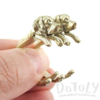Fake Gauge Earrings: Realistic Beagle Puppy Dog Shaped Two Part Stud Earrings in Gold