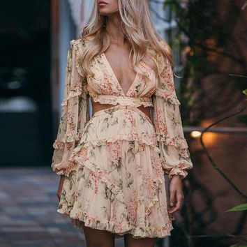 Vintage floral print chiffondress women Boho bandage lace up hollow out dress Holiday beach ladies short dresses
