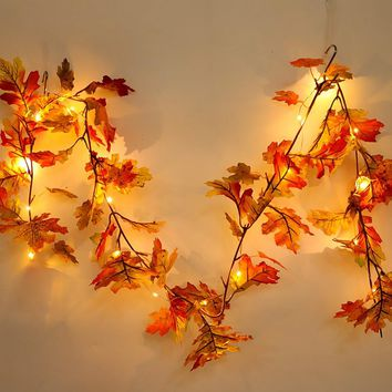Halloween LED light string 1.5M LED Lighted Fall Autumn Pumpkin Maple Leaves Garland Thanksgiving Decor Dropshipping Q4