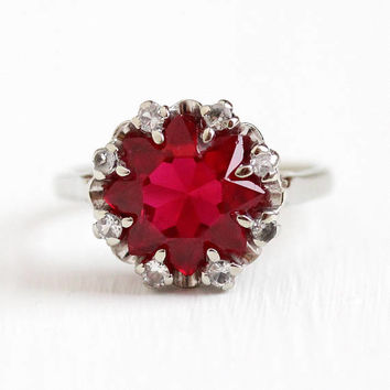 Vintage Star Ring - 10k White Gold Created Ruby & Spinel Halo Ring - Retro 1950s Size 6 Red White Fancy Cut Statement Cluster Fine Jewelry