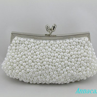 Bridal Clutch Wedding Handbag Pearls Bridal Handmade Bag Crystal Pearls Mixed