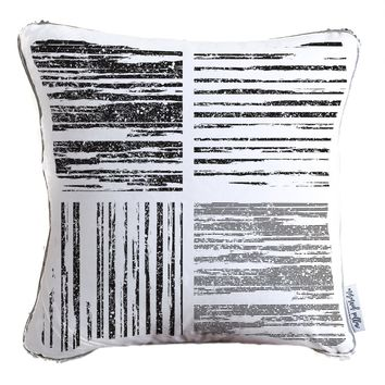 Black & White Stripes Decorative Throw Pillow w/ Silver & White Reversible Sequins - COVER ONLY (Inserts Sold Separately)