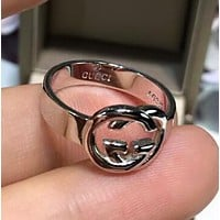 GUCCI 925 Silver Stylish Women Simple Double G Ring Accessories Jewelry