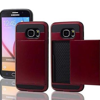 Samsung Galaxy S6 Edge Case, Slim Hybrid Armor w/ Card Slot Case Cover for Galaxy S6 Edge - Red
