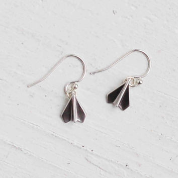 Tiny Silver Paper Airplane Earrings Simple Dainty Origami  Children Teen Unisex