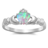 Light Blue Silver Claddagh Ring