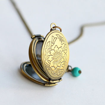 locket pendant necklace, antique brass Locket Necklace with turquoise, vintage style, for her, Boyfriend Girlfriend Gift
