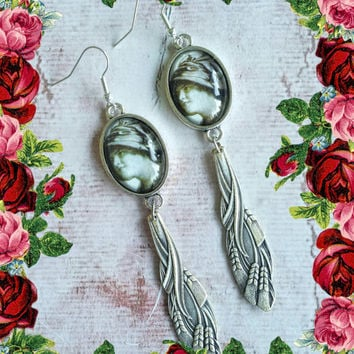 Handmade victorian-style silver spoon and cabochons dangle earrings