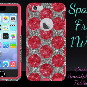 iPhone 6 Case - OtterBox Commuter Series - Retail Packaging - 4.7 iPhone 6 Glitter Red Polka Dots White Gold/Pink