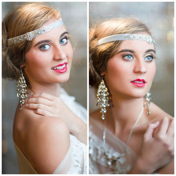 1920s Hair Accessories, Great Gatsby Headband, Flapper Style Art Deco 1920s Beaded Headpiece