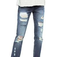 Glamorous Rip Jeans In Wash Blue
